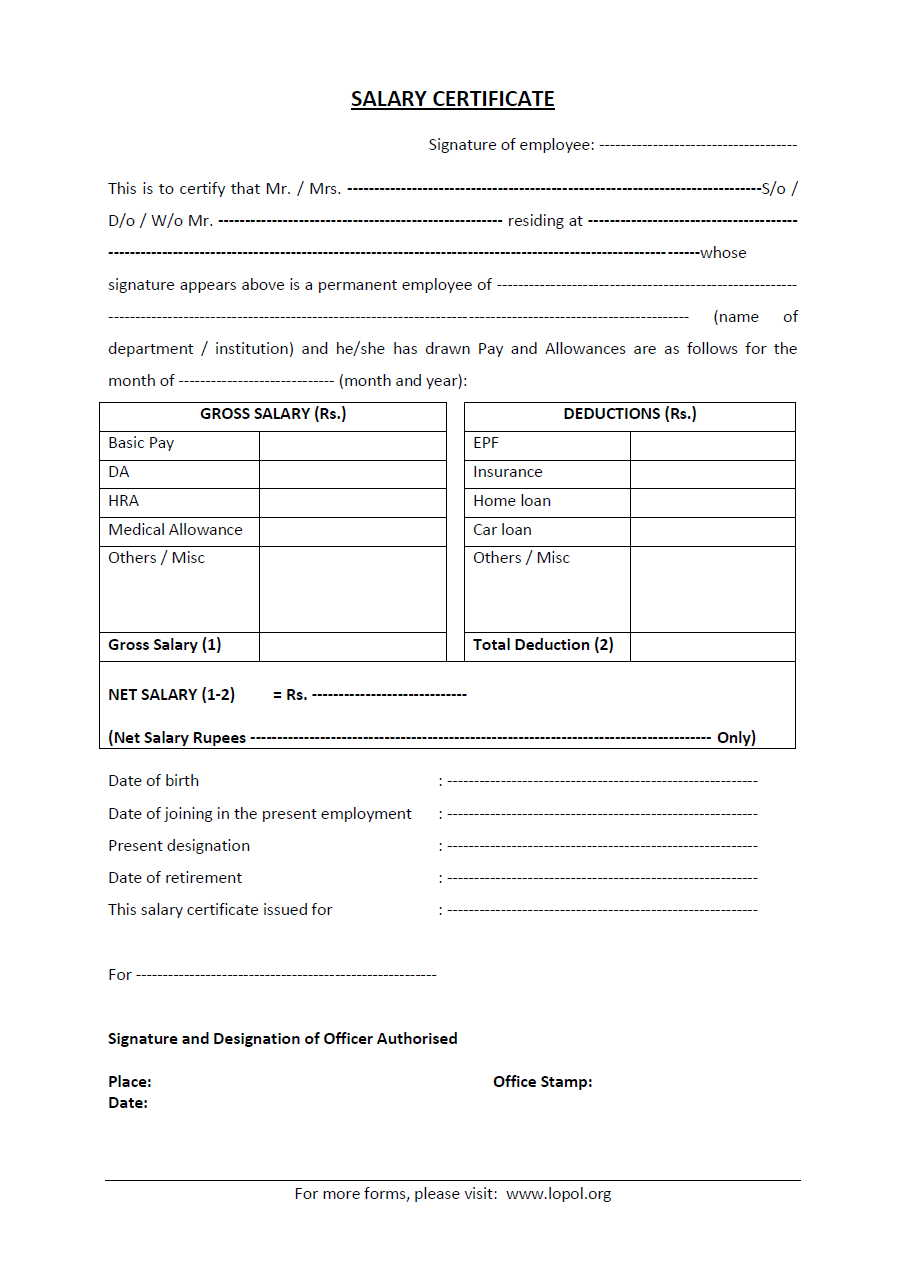 Download Salary Certificate Formats Word Excel And Pdf Lopol Org