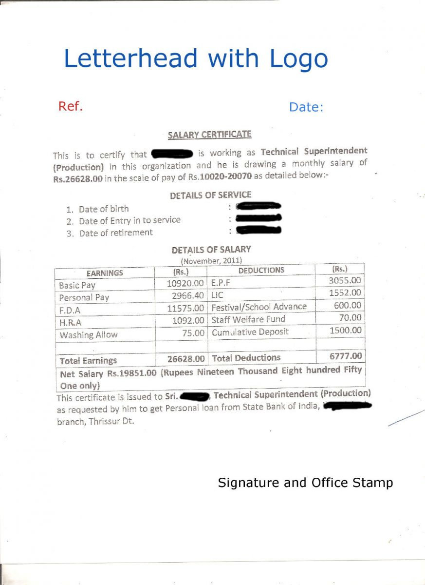Salary Certificate with Company Letterhead