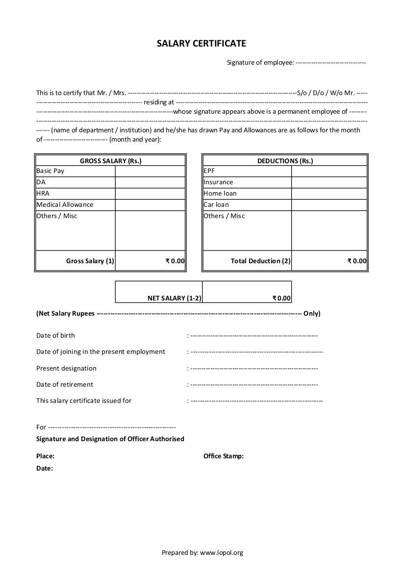 certificate salary payment template word pdf excel form formats payslip sample application example doc job resume letter lopol banking investment