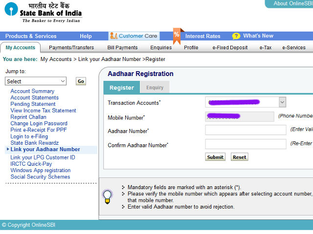 Step-1: Input your Aadhaar Number to Link Bank Account Number