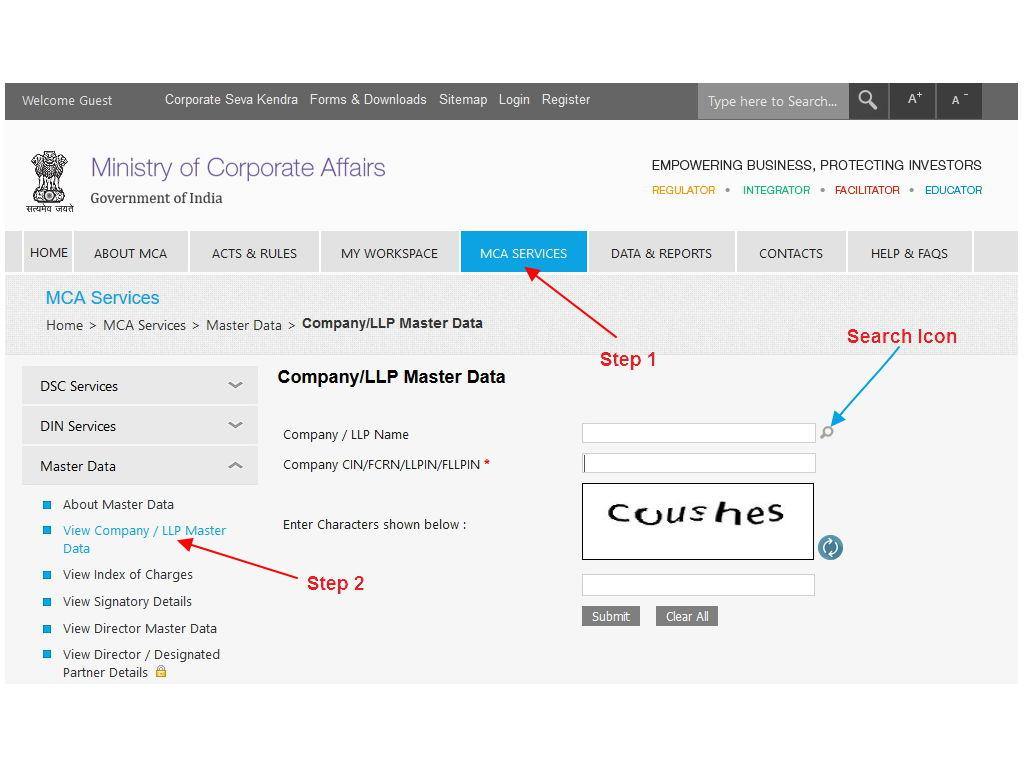 Find Company Master Data using CIN number in MCA site