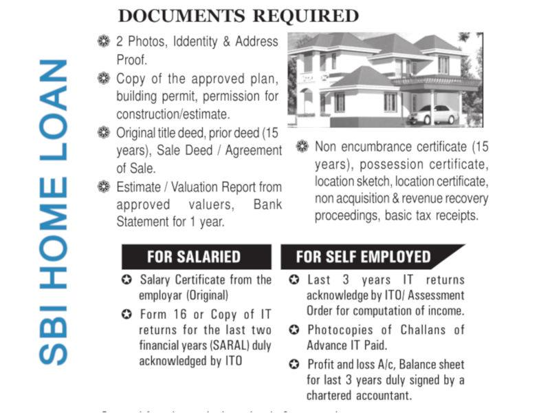 Sbi Home Loan Necessary Documents Required To Be Submitted By Housing Loan Applicant Lopol Org